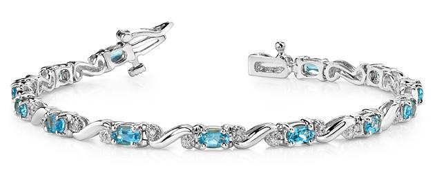 Classic Twist Gemstone and Diamond Bracelet