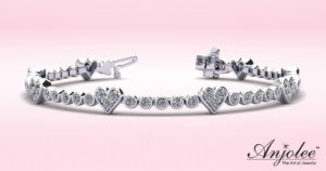 Eight of Hearts Diamond Tennis Bracelet
