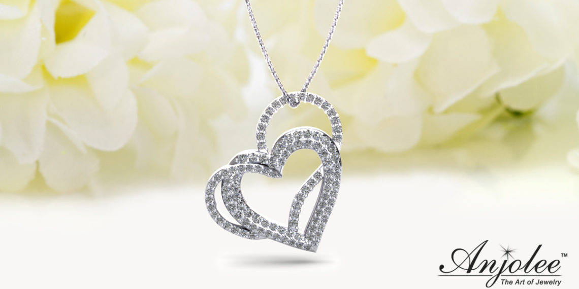 Cascading Diamond Heart Pendant Necklace