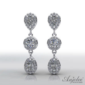 Dazzling Pear And Round Drop Diamond Earrings