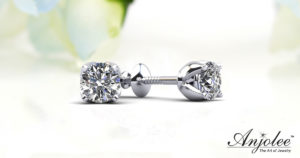 Middle Year Anniversary Gifts -Tulip Diamond Stud Earrings