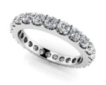 This beautiful shared prong diamond eternity ring offers a unique prong setting