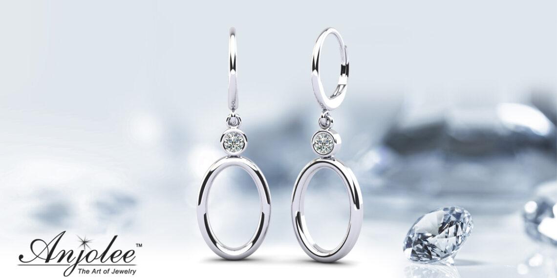 Double Oval Drop Diamond Hoop Earrings