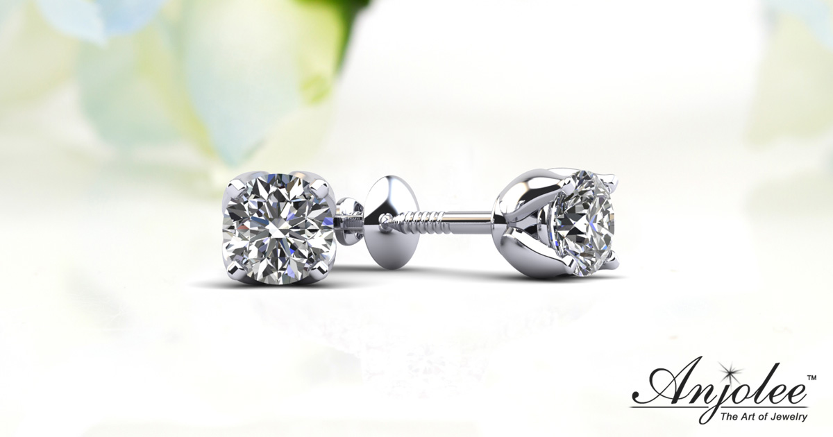 Tulip Diamond Stud Earrings