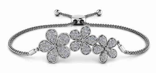 Three Flower Diamond Adjustable Bracelet