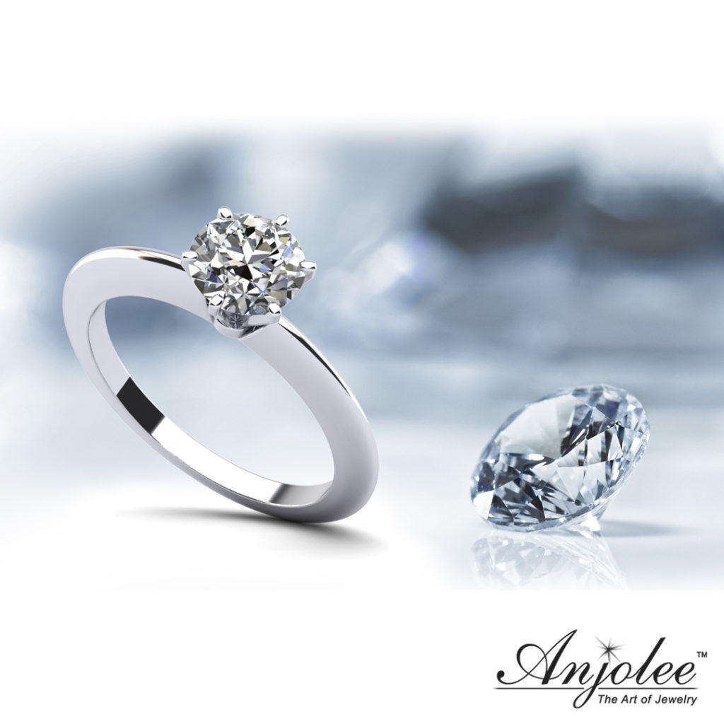 Six Prong Round Diamond Solitaire Ring