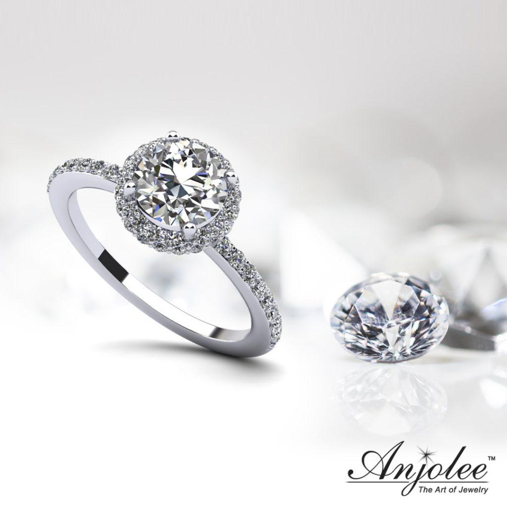 Enchanting Halo Diamond Engagement Wedding Ring
