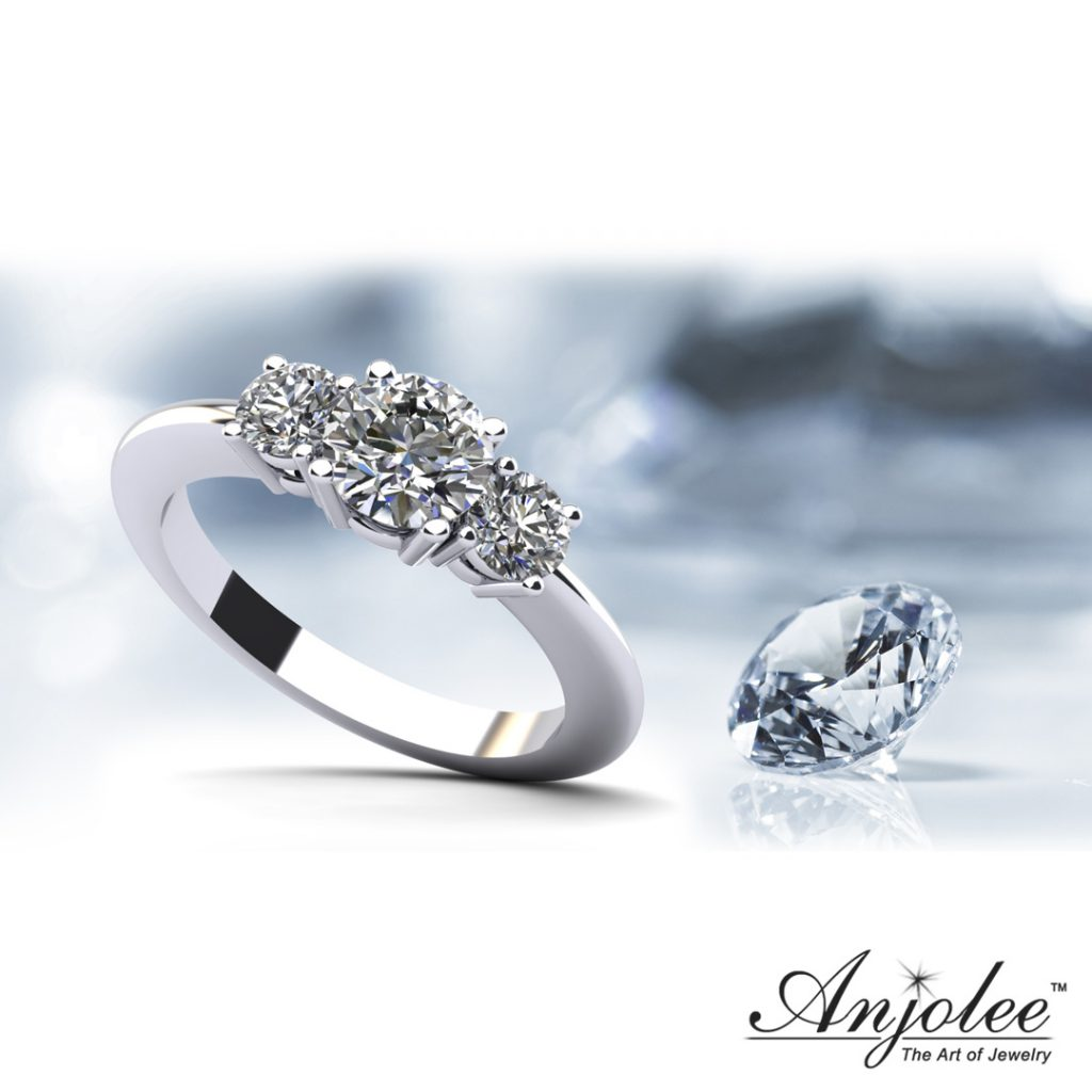 Brilliant Cut Round Diamond 3 Stone Ring