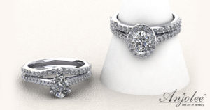 Forever Love Oval Diamond And Halo Bridal Set