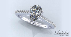 Splendid Pear Shaped Engagement Ring