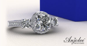 Exquisite Three Stone Diamond Halo Engagement Ring