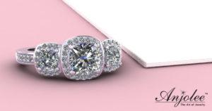 Classic Three Stone Cushion Cut Diamond Halo Ring