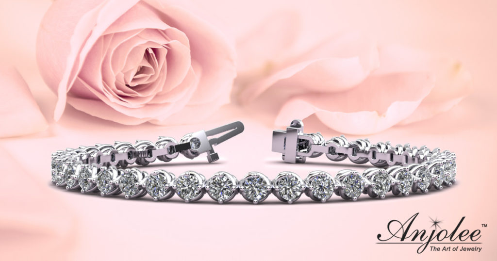 Diamond Tennis Bracelet with Waved Prong Setting