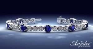 Elegant Dual Size Diamond And Gemstone Bracelet