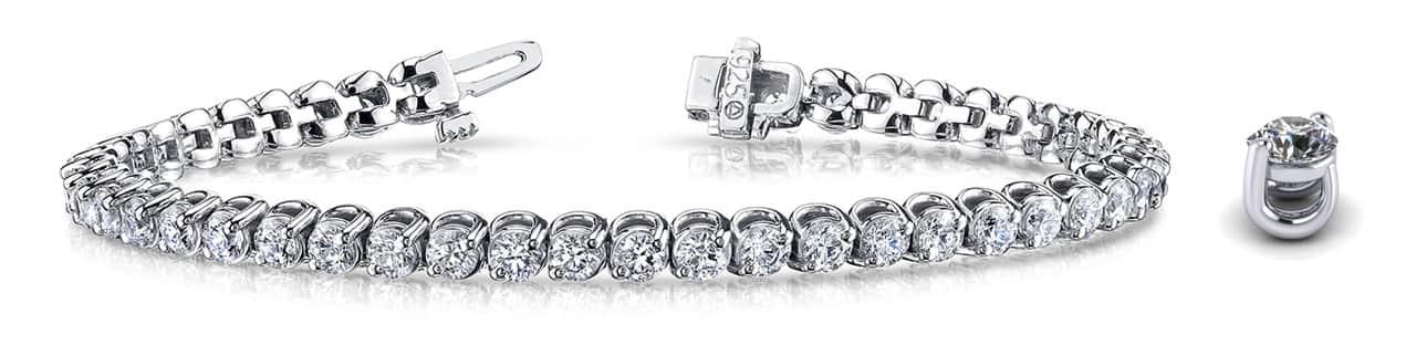 2 Prong Brilliant Round Diamond Tennis Bracelet SB837