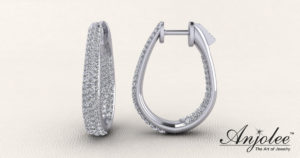 Ravishing Diamond Oval Hoop Earrings