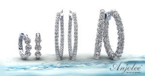 Small Medium Large and Extra Large Diamond Hoop Earrings