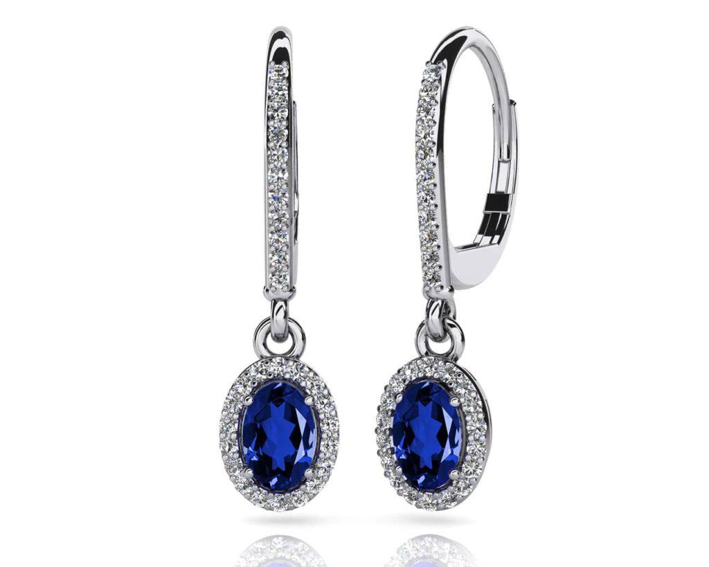 Anjolee Oval Shaped Gemstone And Diamond Earrings