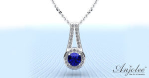 Bridal Party Gift - Gemstone And Diamond Drop Pendant