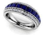 Anjolee Three Row Princess Gemstone And Round Diamond Fashion Ring