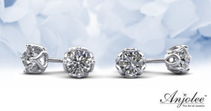 Floral Diamond Stud Earrings