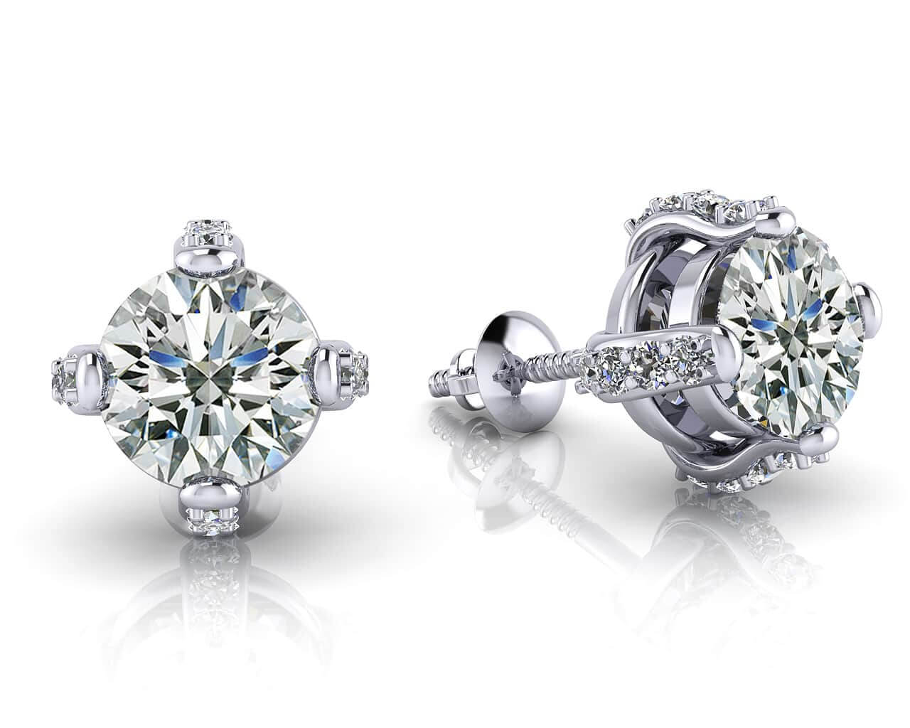 Diamond Stud Earrings: Royal Four Prong Diamond Studs