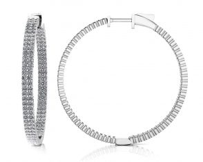 Double Row Inside Out Diamond Hoop Earrings