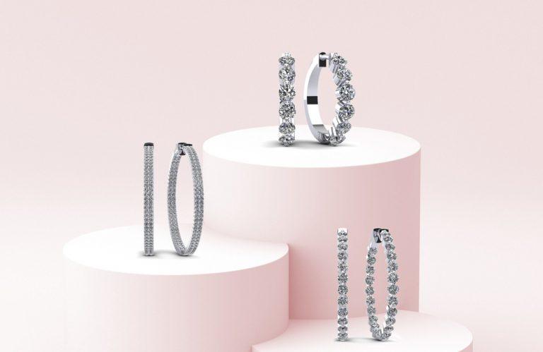 Anjolee Diamond Hoop Earrings