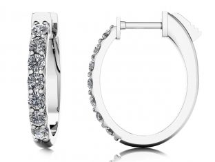 Oval Shaped Diamond Hoop Earrings