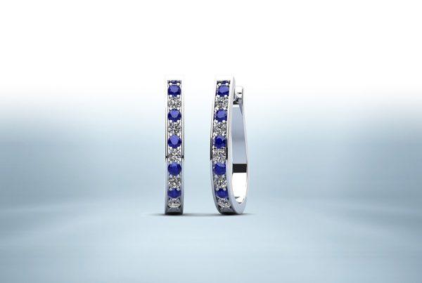 Oval Shaped Gemstone Diamond Hoop Earrings