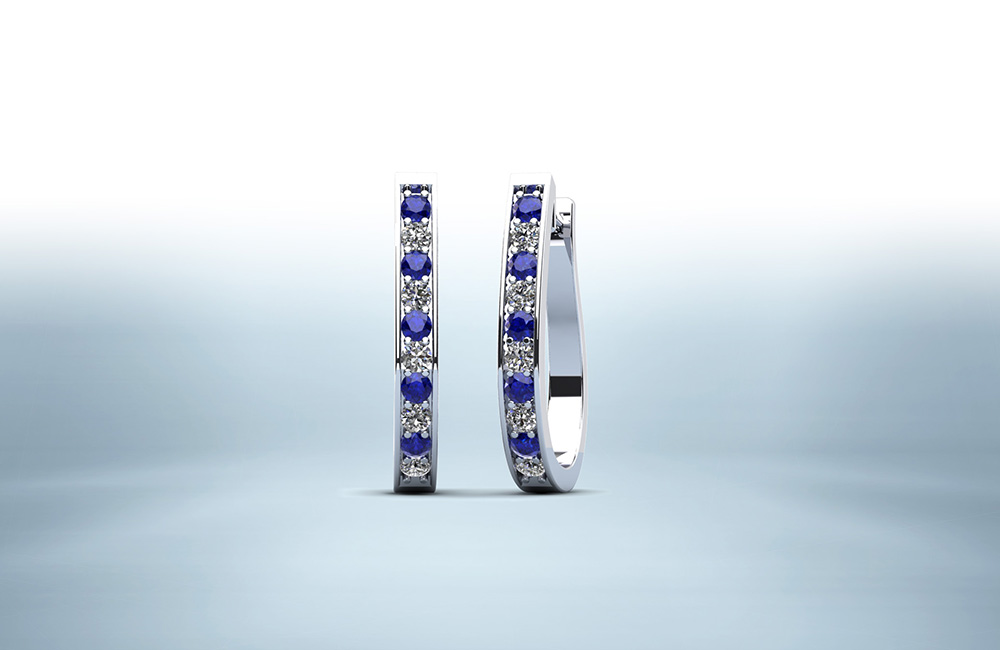 Oval Shaped Gemstone Diamond Hoop Earrings