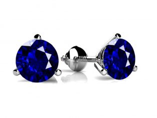 Three-Prong Gemstone Stud Earrings