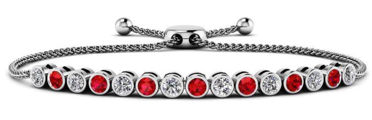 Anjolee Bezel Set Adjustable Diamond And Gemstone Bracelet