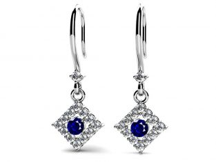 Diamond Shaped Gemstone Drop Earrings