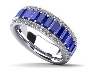 Beaming Baguettes Gemstone and Diamond Ring