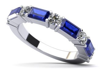 Modern Mix Diamond and Gemstone Anniversary Ring