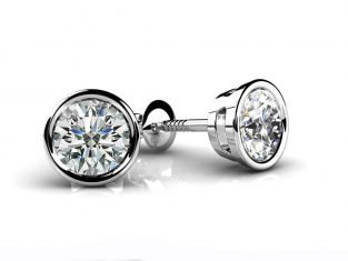 Anjolee Bezel Set Round Diamond Stud Earrings