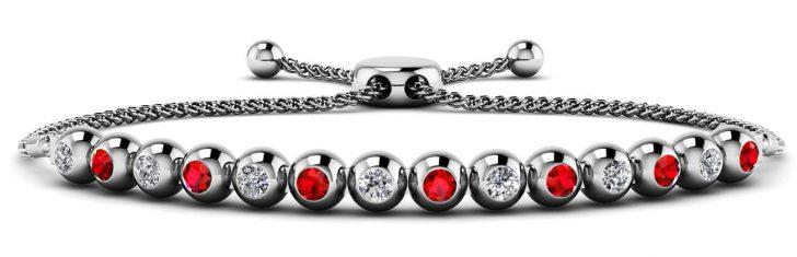 Anjolee Bolo Bezel Set Diamond And Gemstone Tennis Bracelet