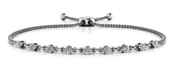 Anjolee Adjustable Diamond And Chain Link Slider Bracelet