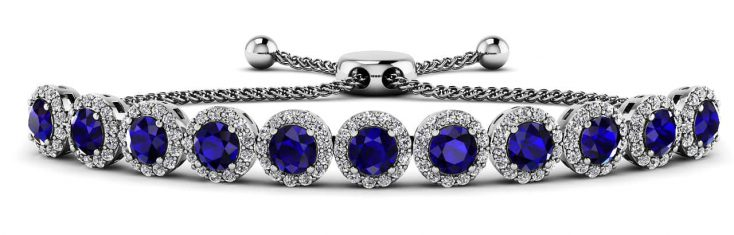 Anjolee Round Halo Adjustable Diamond Bracelet