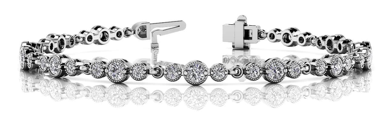 Anjolee Vintage Milgrain Three Diamond Chain Link Bracelet