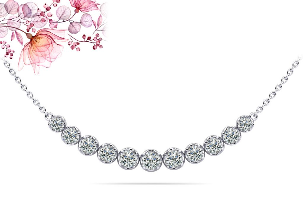 Anjolee Classic Strand Necklace With Graduated Diamonds And Chain