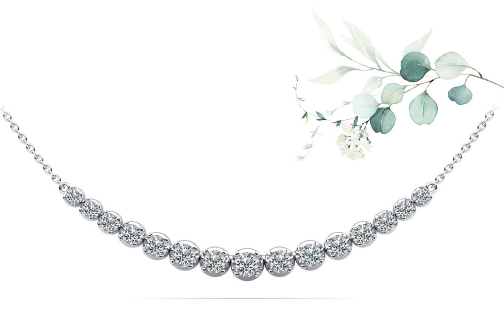 Anjolee Four Prong Strand Necklace With Graduated Diamonds And Chain