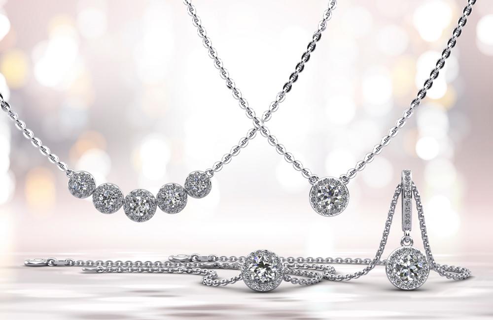 Halo Diamond Pendants by Anjolee