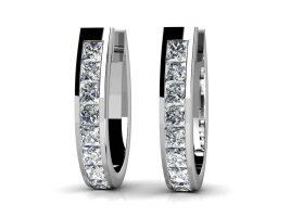 Flame Shaped Diamond Hoop Earrings