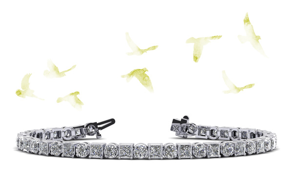 Princess Charm Diamond Tennis Bracelet