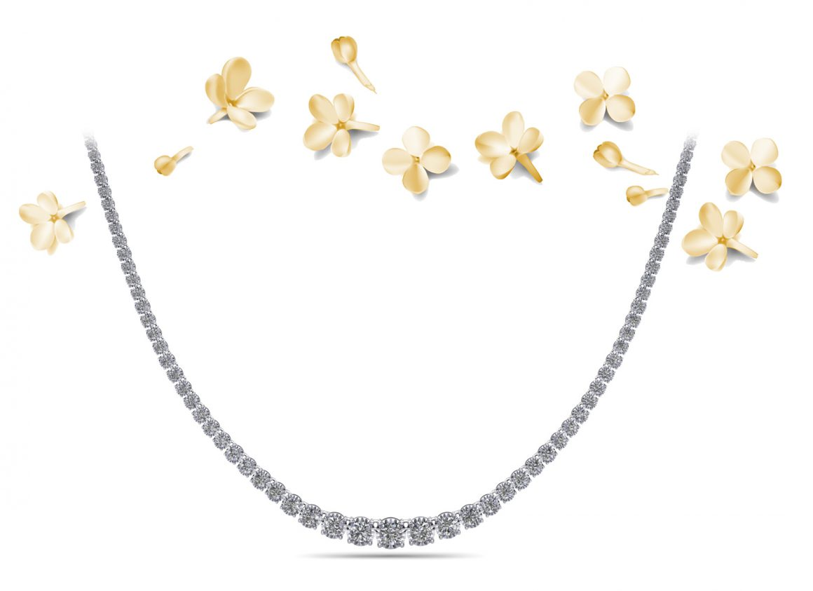 Diamond Crown Tennis Necklace