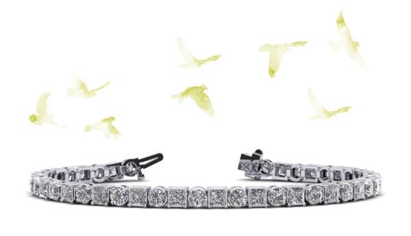 Princess Charm Diamond Tennis Bracelet