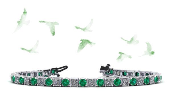 Princess Moon Diamond And Gemstone Tennis Bracelet