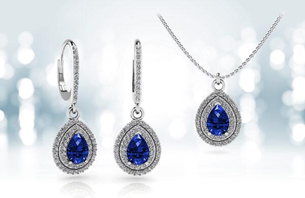 Vintage Teardrop Diamond And Gemstone Pendant and Earrings